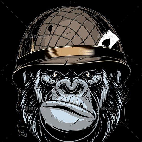 Gorilla in the Military Helmet
