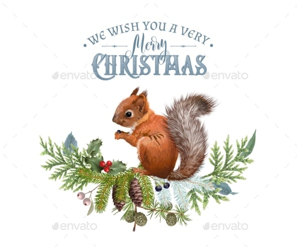 Vector Christmas Banner with Branches and Squirrel - Christmas Seasons/Holidays