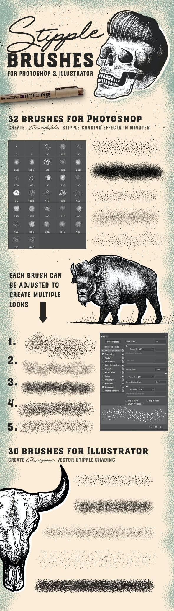 Stipple Brush Set for Photoshop and Illustrator - Photoshop Add-ons