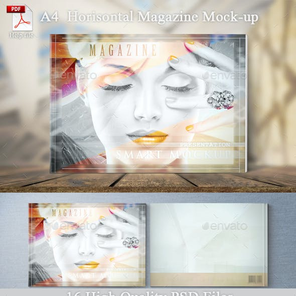 A4 Horizontal Magazine Mockup