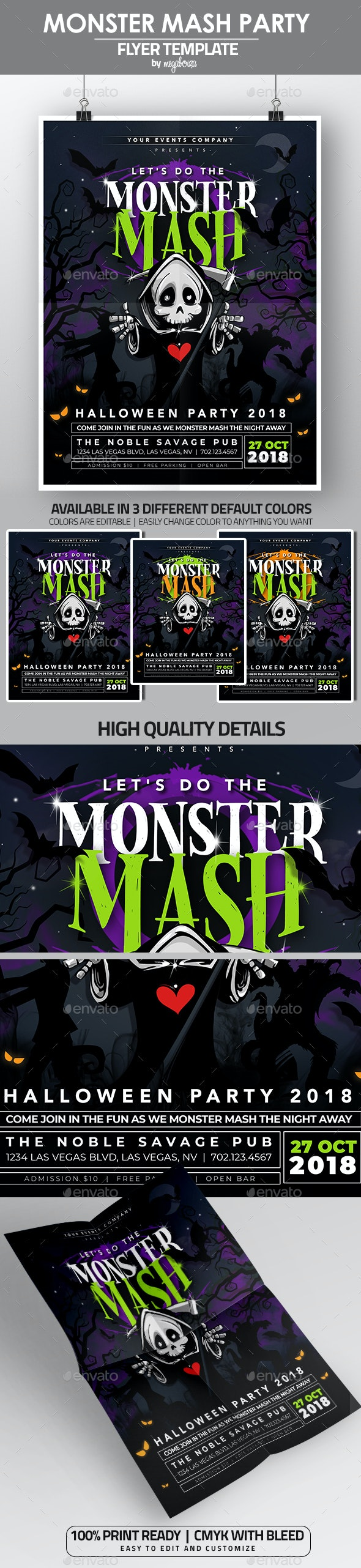 Monster Mash Halloween Party Flyer/Poster - Flyers Print Templates