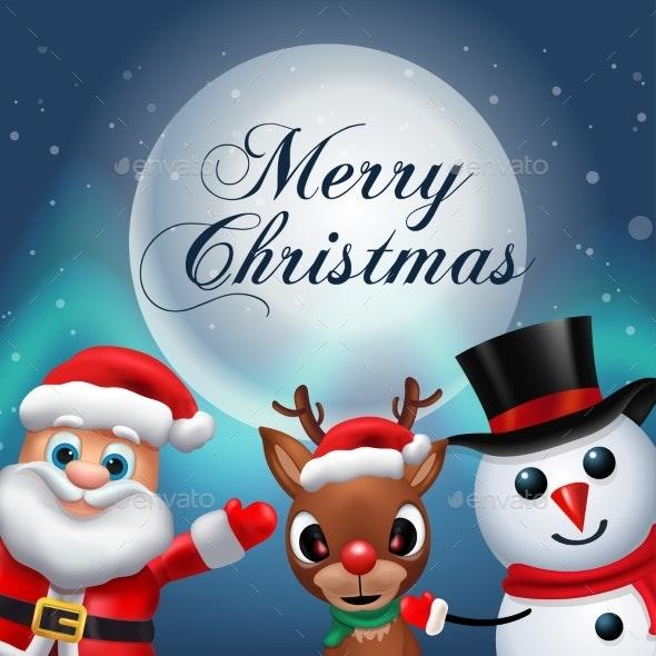 Santa Claus Lettering Design - Holiday Greeting - Christmas Seasons/Holidays
