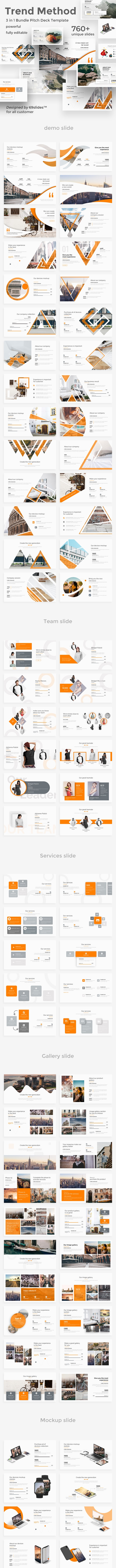 3 in 1 Trend Method Pitch Deck Bundle Powerpoint Template - Business PowerPoint Templates