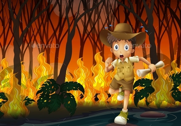 Boy Scout Running Away From Wildfire - People Characters
