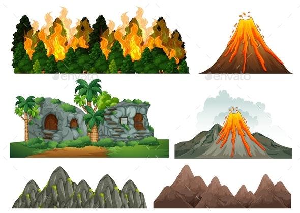 Set of Natural Disaster - Landscapes Nature