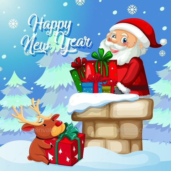 Santa With Present on Christmas Template - Christmas Seasons/Holidays