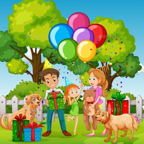 Family Having Birthday Party in The Park - People Characters