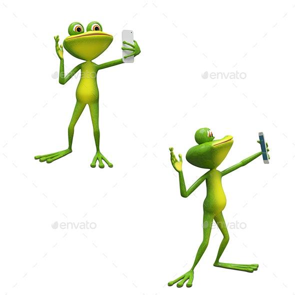 3D Illustration Frog Makes Selfi - Characters 3D Renders