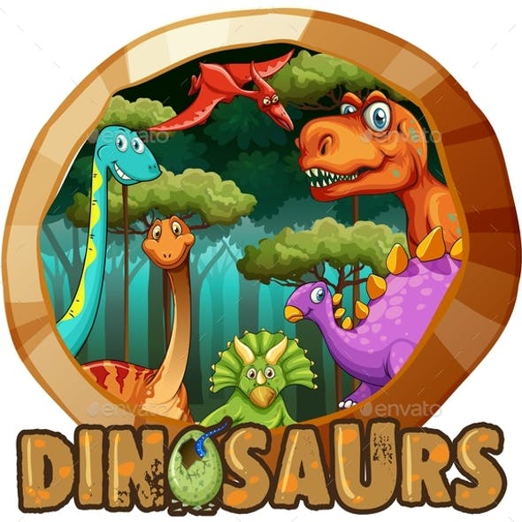Sticker Design With Many Dinosaurs in Forest