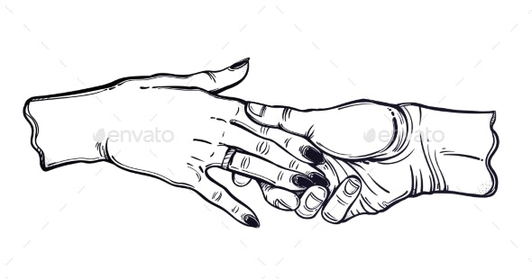 Couple Hold Hands in Tattoo Style with a Ring - People Characters