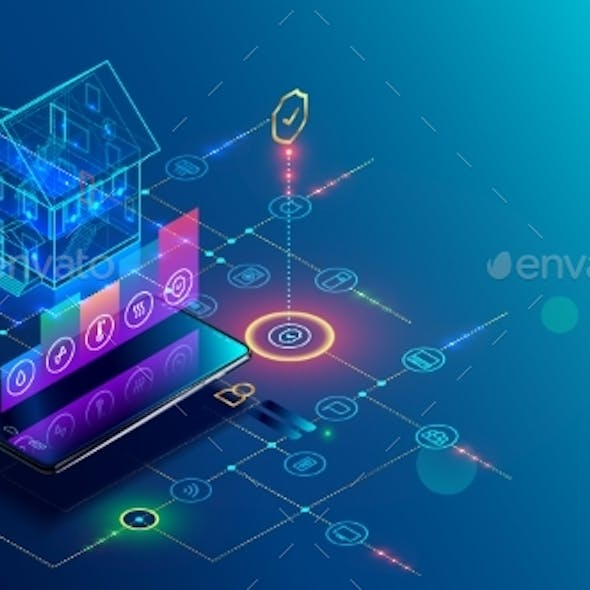 Smart Home with Internet of Things Isometric