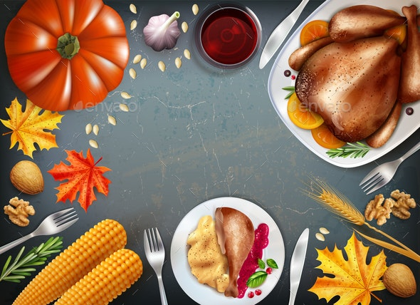 Colored Thanksgiving Day Concept - Food Objects