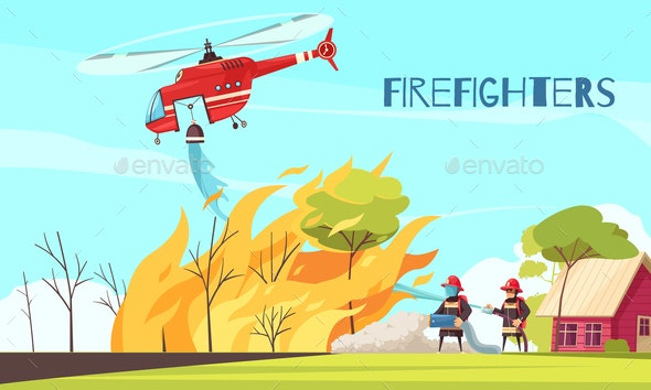 Fighting Wild Fire Background - Miscellaneous Vectors