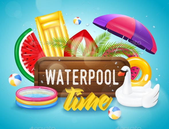 Realistic Inflatable Pool Horizontal Poster - Backgrounds Decorative