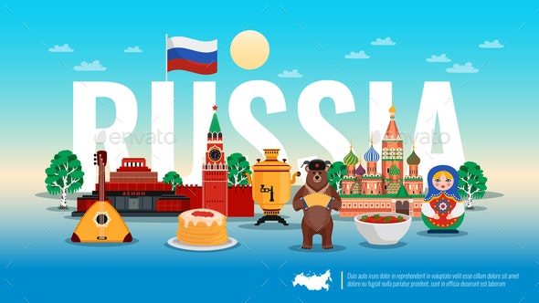 Russia Travel Flat Composition - Buildings Objects
