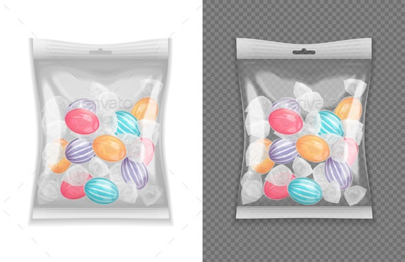 Realistic Candy Package  Set - Food Objects