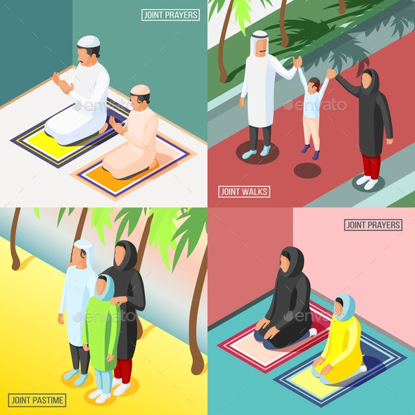 Arabic Family 2x2 Isometric Concept - People Characters