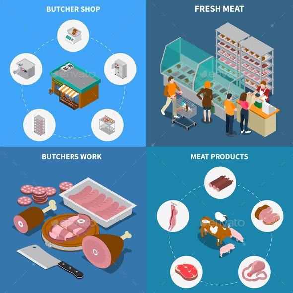 Isometric Butchery Design Concept - Animals Characters