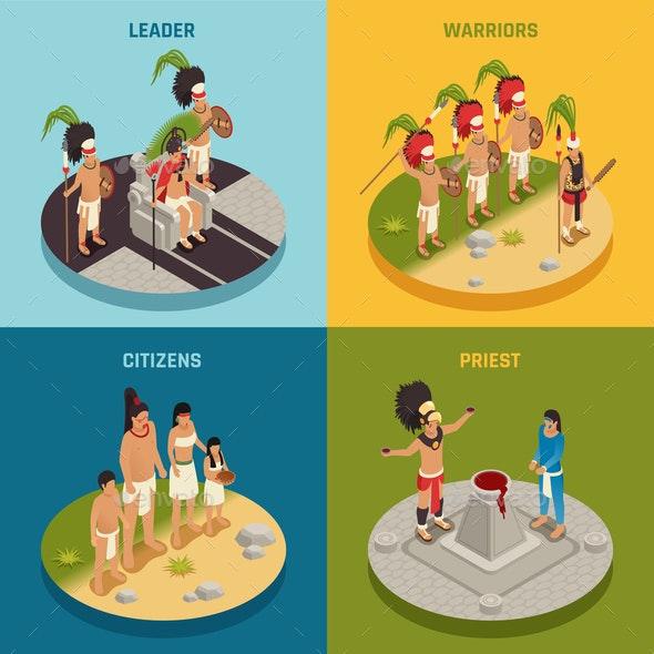 Maya Civilization Isometric Design Concept - People Characters