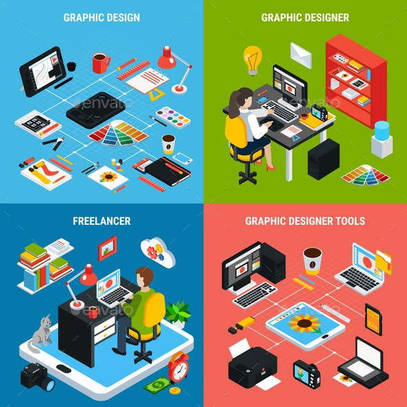 Graphic Design 2x2 Concept - Industries Business