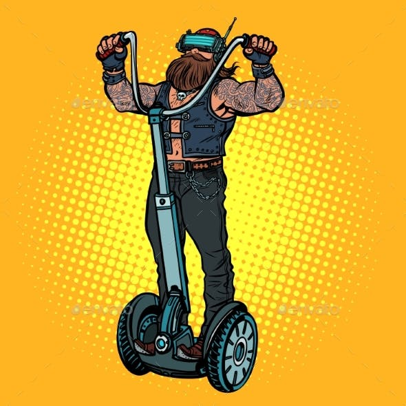 Biker on Electric Scooter, Virtual Reality, VR