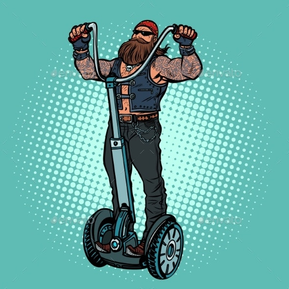 Biker on Electric Scooter, Rider - Miscellaneous Vectors