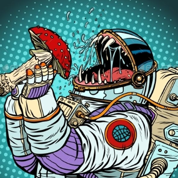 Astronaut Monster Eats Fly Agaric. Greed and