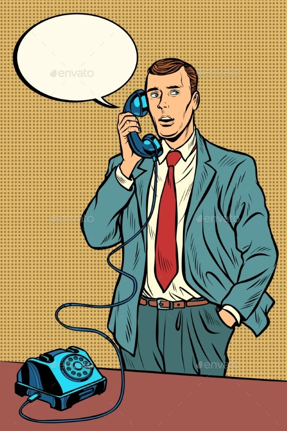 Man Talking on a Retro Phone - Concepts Business