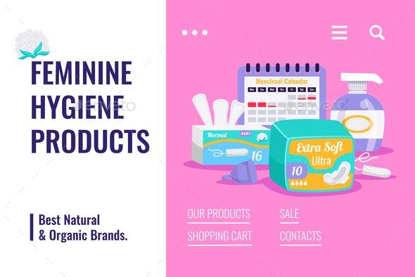 Feminine Hygiene Products Banner - Miscellaneous Vectors