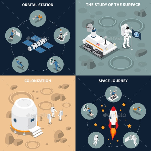 Space Journey Isometric Flowchart - Computers Technology