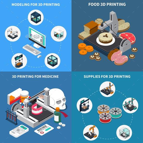 Printing 3D Isometric Design Concept