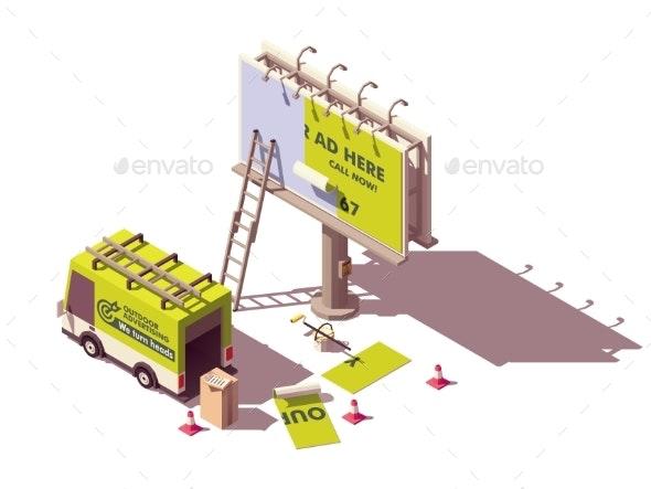 Vector Isometric Billboard Advertising Applying - Miscellaneous Vectors
