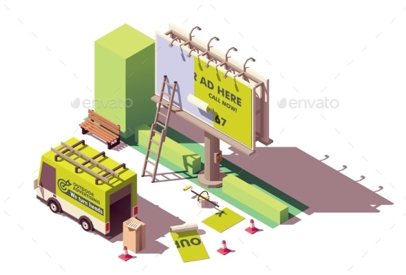Vector Isometric Billboard Advertising Applying - Man-made Objects Objects