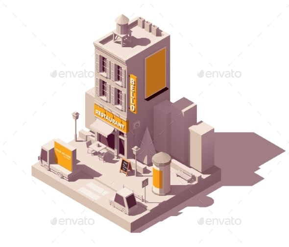 Vector Isometric Outdoor Advertising Types - Buildings Objects