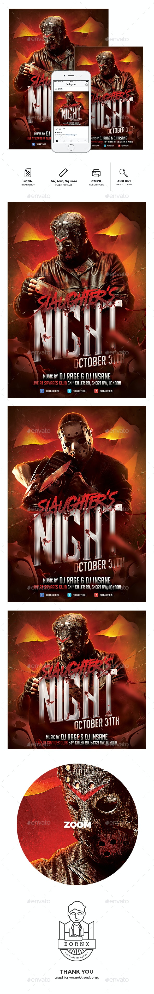 Slaughter's Night Halloween Flyer - Holidays Events