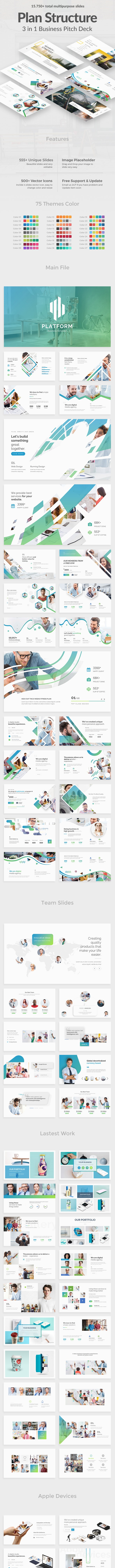 Plan Structure Pitch Deck 3 in 1  Bundle Keynote Template - Creative Keynote Templates