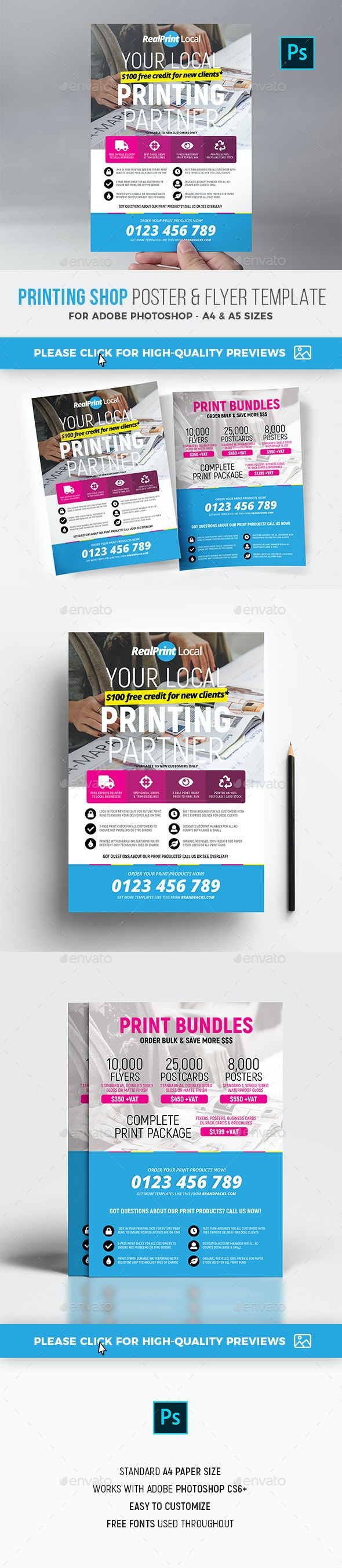 Printing Shop Flyer / Poster - Commerce Flyers