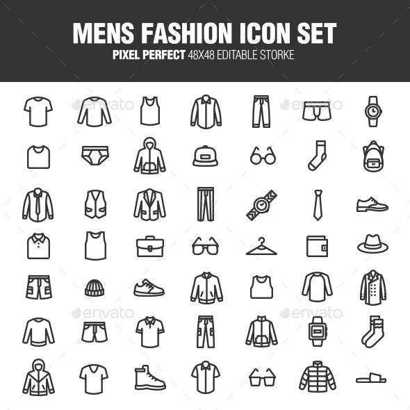 Mens Fashion Icon Set - Business Icons