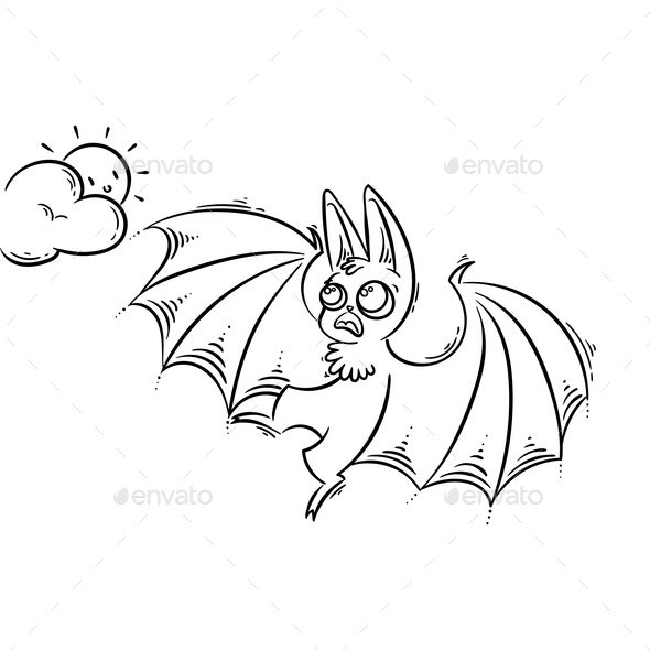 Cartoon Bat Screeching to the Sun - Animals Characters