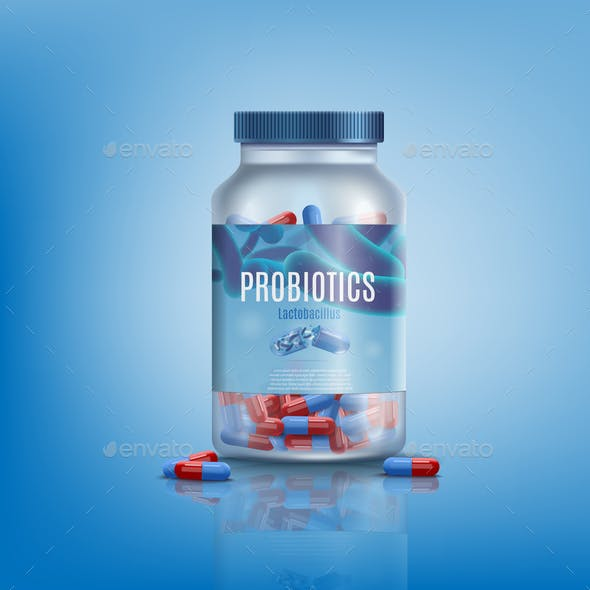 Probiotics Pills in Glass Jar Realistic Vector