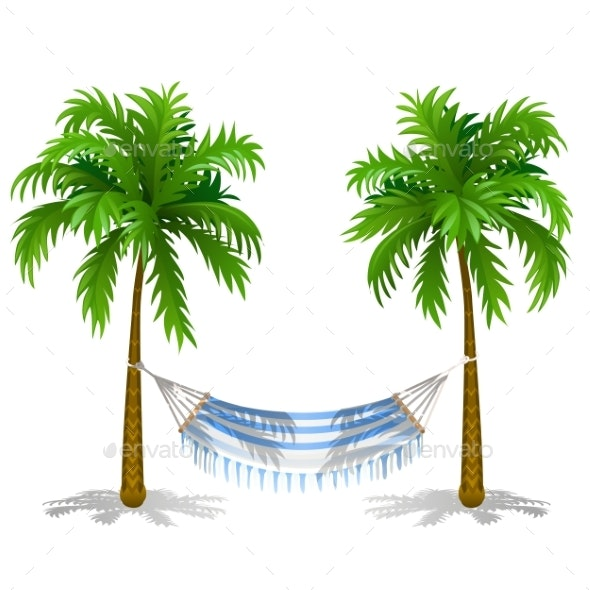 Hammock Between Two Palm Trees Isolated on White - Miscellaneous Vectors