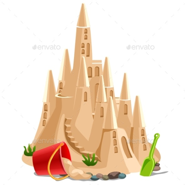 Castle Made of Sand Isolated on White Background - Buildings Objects
