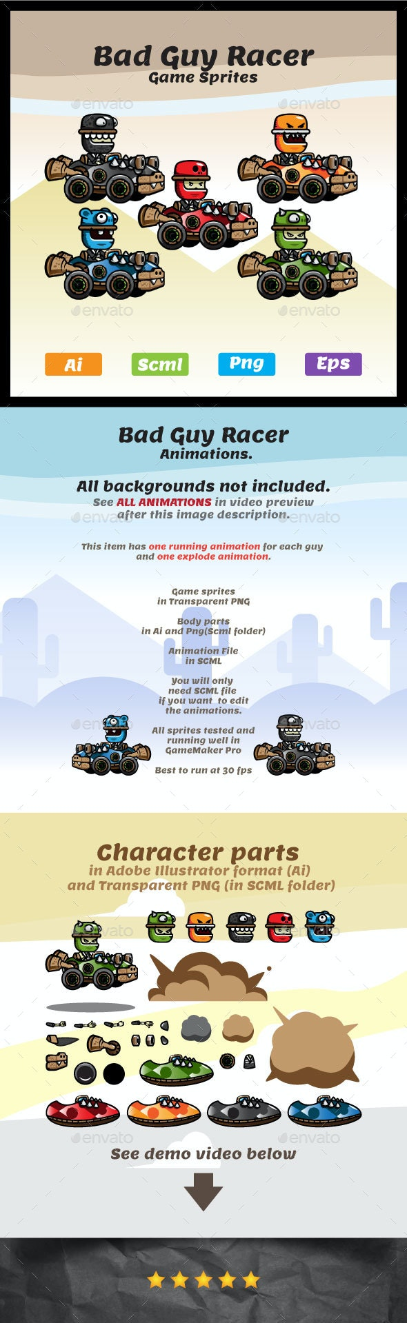 Bad Guys Racer Sprites | Racing Game Character - Sprites Game Assets