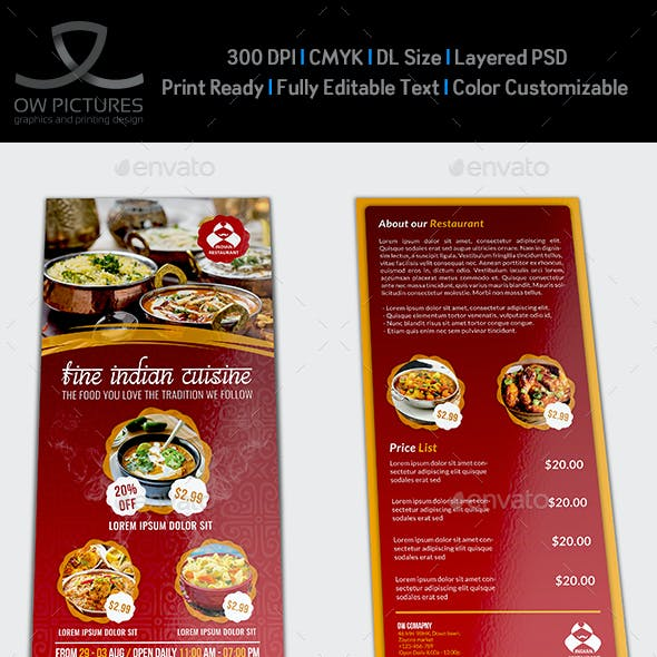 Indian Restaurant Flyer DL Size Template Vol.2