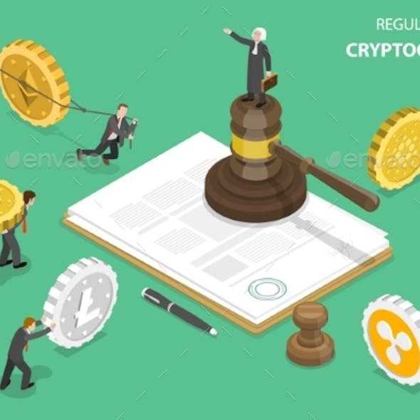 Regulation of Cryptocurrency Isometric Flat Vector