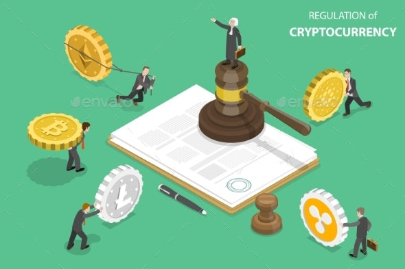 Regulation of Cryptocurrency Isometric Flat Vector - Miscellaneous Vectors