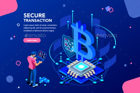 Cryptocurrency Isometric Concept - Concepts Business