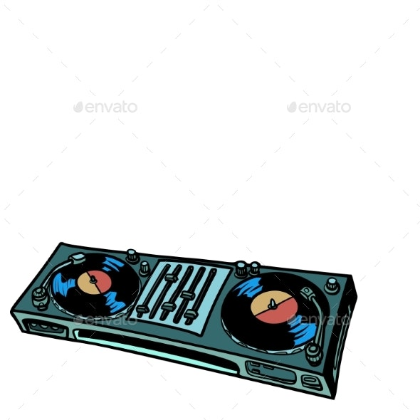 DJ Turntable, Music Console. Isolate on White - Technology Conceptual