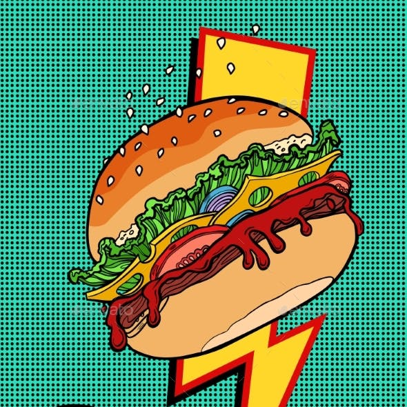 Woman Eating Burger. Pop Art Style. Female Mouth