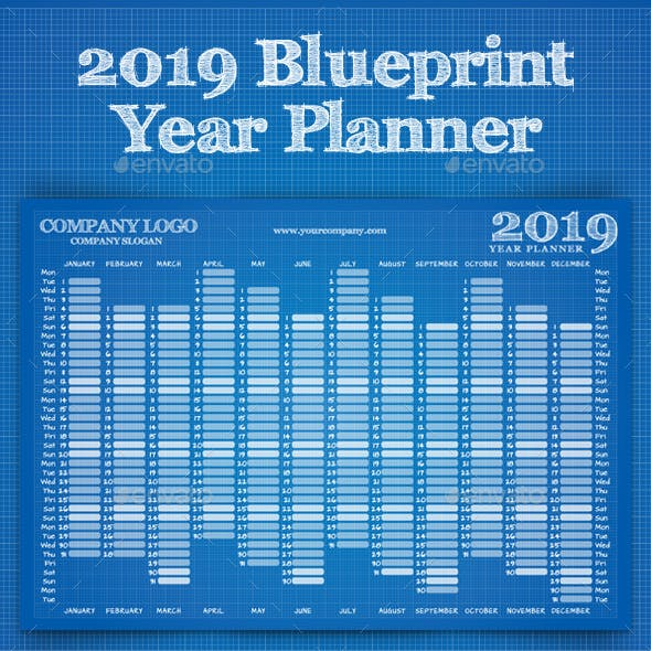 2019 Blueprint Year Wall Planner Calendar